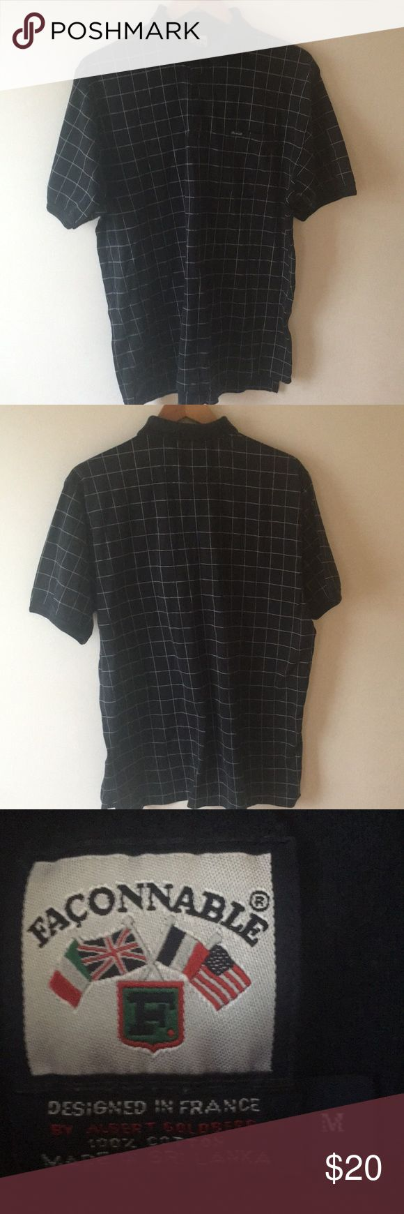 Facconable Polo Shirt Navy/White Plaid Men's M Facconable Polo Shirt Navy/White Plaid Men's M, 100% Cotton,intricate white stitching for the plaid, Very Good Condition, tiny tear seen in the last photo. Designed in France by Albert Goldberg , Made in Sri Lanka Faconnable Shirts Polos