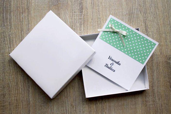 flocked wedding invitation, wedding invitation with dots, wedding invitation with ribbon