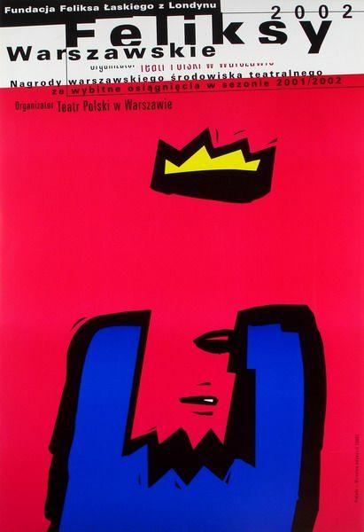Warsaw Felix. theatre award Feliksy Warszawskie 2002 Adamczyk Miroslaw Polish Poster