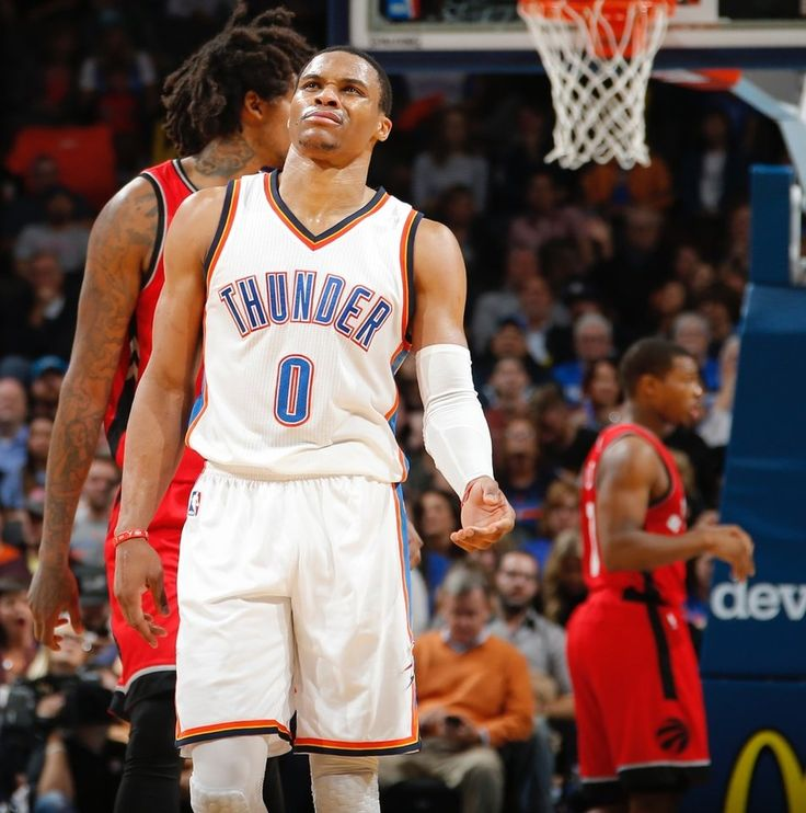 Oklahoma City's Russell Westbrook reacts after a foul in the Thunder during an NBA basketball game between the Oklahoma City Thunder and the Toronto Raptors at Chesapeake Energy Arena in Oklahoma City, Wednesday, Nov. 9, 2016.  Photo by Bryan Terry, The Oklahoman