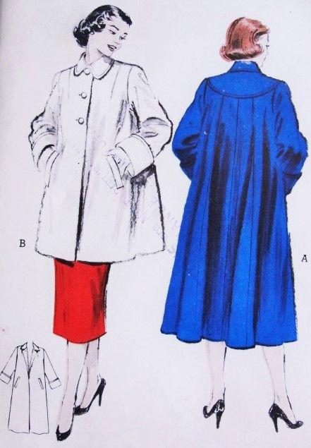 1950s SWING Back Coat or Jacket Pattern BUTTERICK 6285 ...