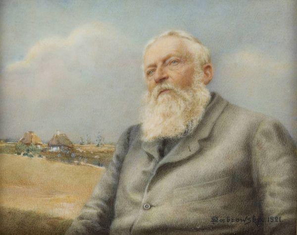 Józef Chełmoński na tle wiejskiego pejzażu - Józef Chełmoński