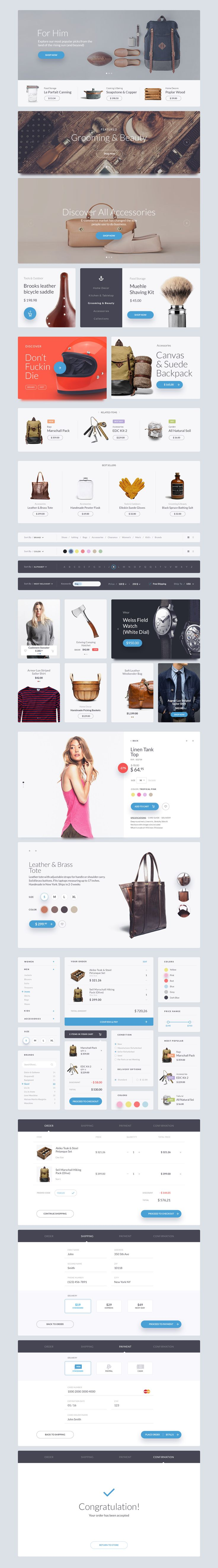 Kauf is a UI Web Kit crafted in Photoshop and designed for help you in your next awesome web project. This pack comes with 200+ design elements vector based and 7 categories (Articles, Ecommerce, Forms, Headers, Navigations, Widgets, Elements) to give a s… #ui