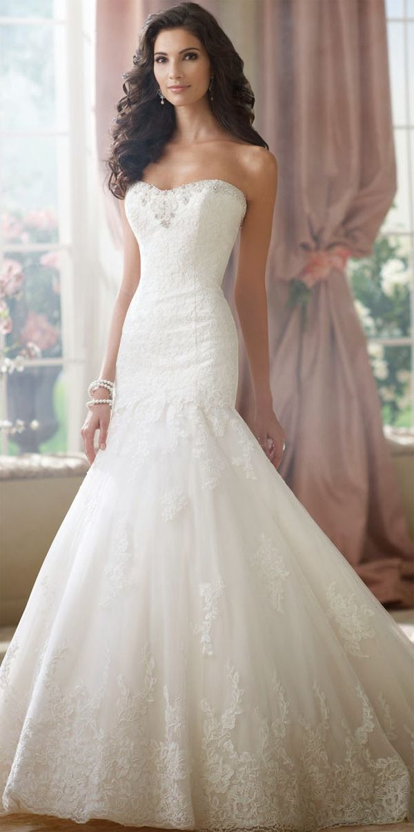 David Tutera Fit And Flare Strapless Elegant Wedding Gown