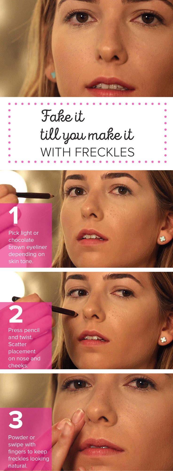 Get a freckled face with this hack for sporting fake freckles.