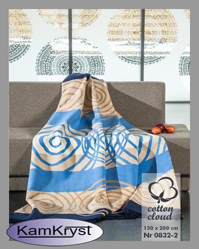 Koc bawełniany z dodatkiem akrylu - koce z kolekcji Cotton Cloud firmy Umipled - miłe i delikatne w dotyku.