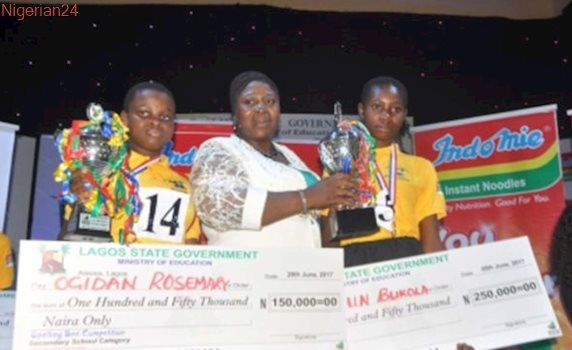 Indomie lauds winners of the Lagos State 2017 Spelling Bee competition