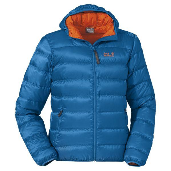 Jack Wolfskin Helium Down Jacket  : Bijzonder licht, warm en zeer klein op te vouwen donsjack met capuchon.Het buitenmateriaal is winddicht, waterafstotend en extreem licht. De capuchon voegt zich goed om het hoofd, zodat hij ook goed onder een klimhelm kan worden gedragen. 410g size L