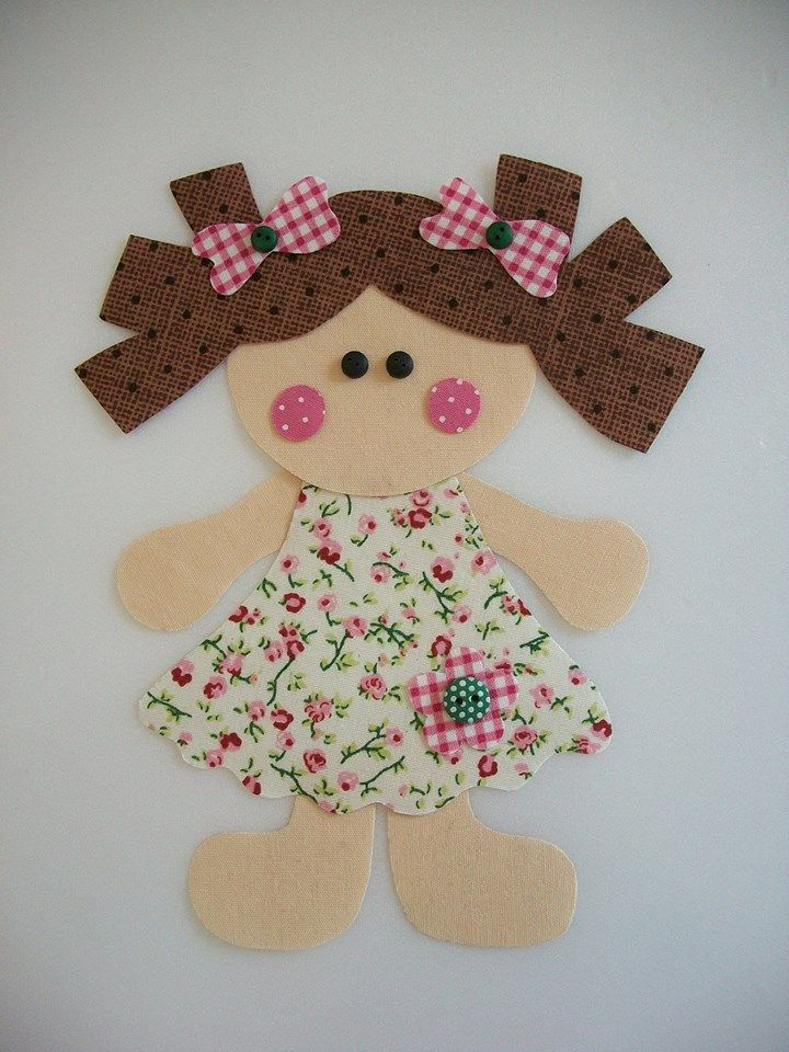What a sweet little girl appliqué made with felt.