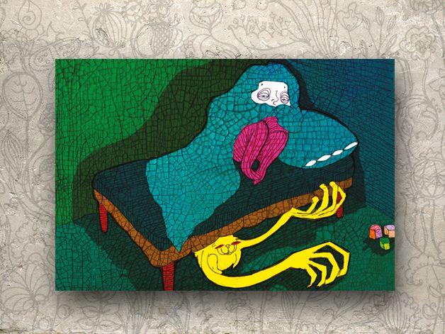 """Illustration """"Monster unter dem Bett"""" von Granatapfel - Onlineshop mit Illustriertem. auf DaWanda.com"""