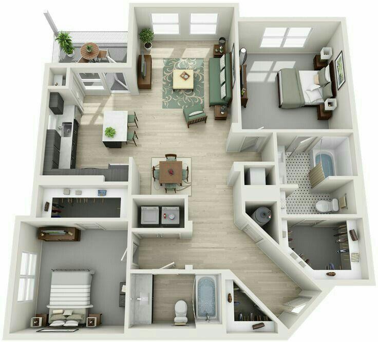 2 Bedroom 2 Bathroom Apartment Apartment Layout Apartment Floor