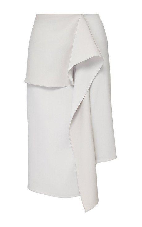 Stone Satin Crepe Wave Drape Skirt by J.W. Anderson for Preorder on Moda Operandi