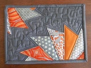 orange & grey broken dresden mug rug  Good color combo
