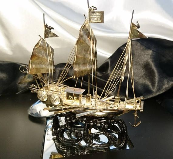 Fantastic antique sterling silver Chinese junk ship war ship