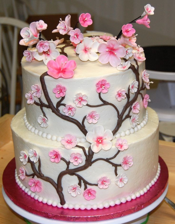 Japanese Cherry Blossom Cake - Chocolate cake with cookies and cream mousse filling. BC with gum paste flowers :)