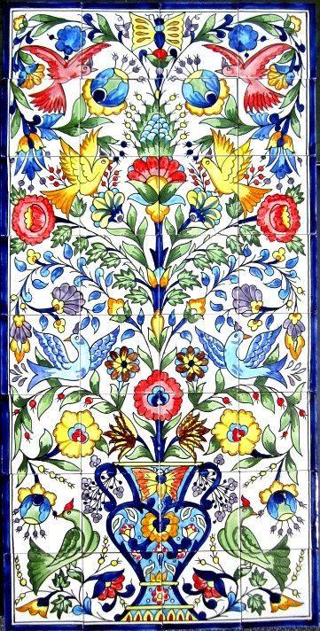 DECORATIVE CERAMIC TILES mosaic panel hand by tunisiandecor, $350.00