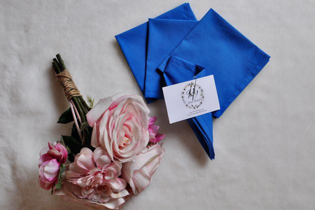 Eclectic Blue Bridesmaid Dresses and Pocket Squares #bridal #sewing #結婚式