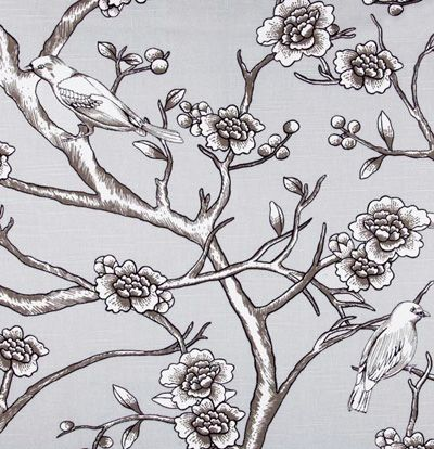 """Vintage Blossom, Dove""  Introducing Dwell Studio and their Eclectic Modern collection in beautiful 100% cotton prints.  The colors in this gorgeous, large scale print is a dove gray and white & black contrast lines"