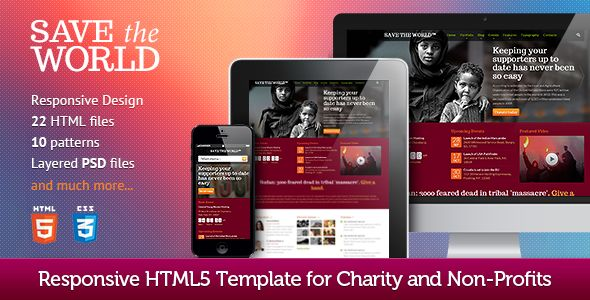 SaveTheWorld: Responsive HTML theme for Charity