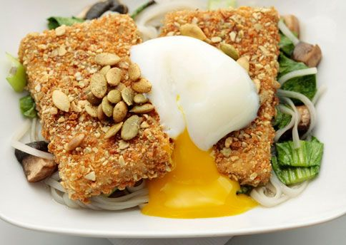 Pumpkin-Seed-Crusted Tofu with Lemongrass Broth, Rice Noodles, and Poached Eggs - Bon Appétit