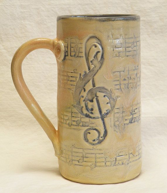 Stoneware music script 20oz coffee mug handmade by desertNOVA, $22.00
