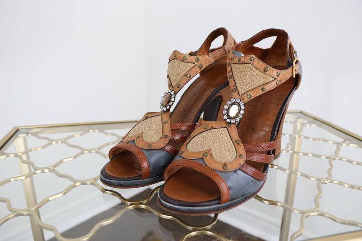 "Boho Designer Chie Mihara Patchwork Embellished Leather Summer Sandals Rhinestones Hearts Studs 4"" Heel Size 8.5 US 39.5 European by VintageBySuzanne on Etsy"