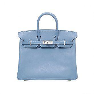 Hermes Birkin Bag 25 Blue Jean Epsom Leather Silver Hardware