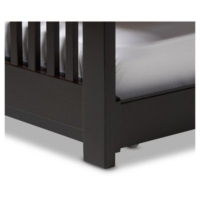 Hevea Solid Wood Platform Bed With Guest Trundle Bed - Twin - Dark Brown - Baxton Studio, Dark Taupe
