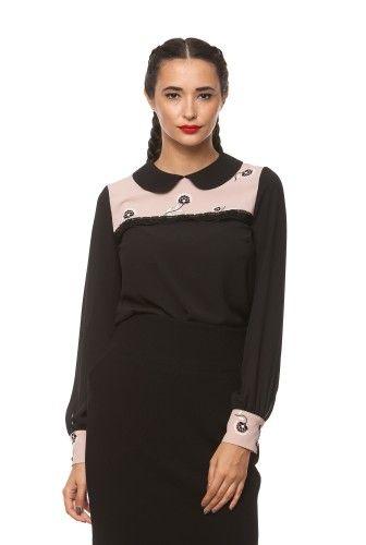 Bluza din voal cu imprimeu 1034 negru/crem