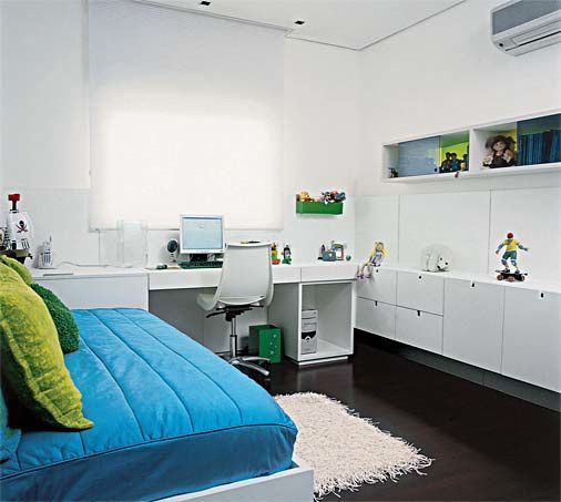 Room Design - White on Contrast Cyan and Lime Green
