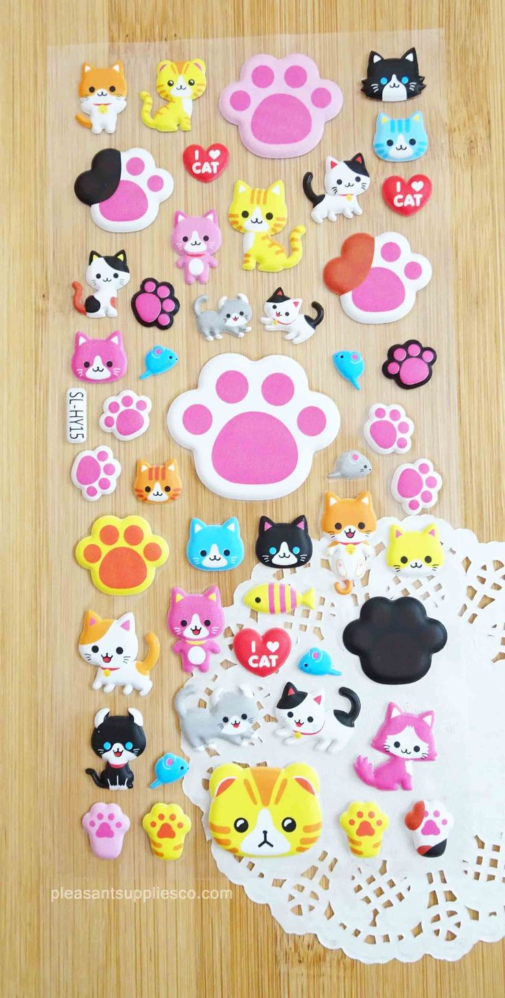 Cute Cat Party Stickers for Planners & Scrapbook