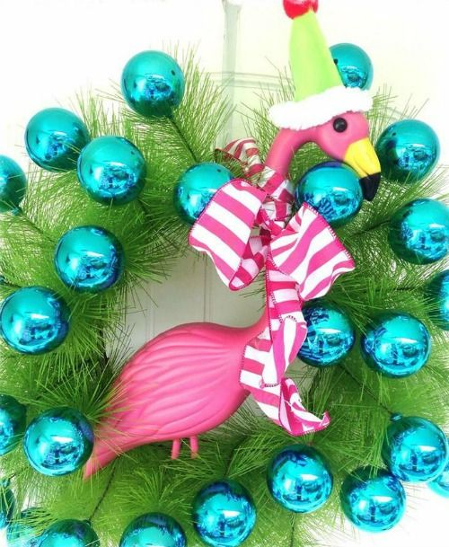 Fun Blue Christmas Ball Wreath with Flamingo for a Warm Weather Christmas! Featured on BBL: http://beachblissliving.com/beach-christmas-decorations/