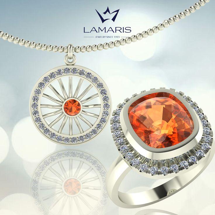 Lant, pandantiv si inel din aur alb cu diamante si citrine.