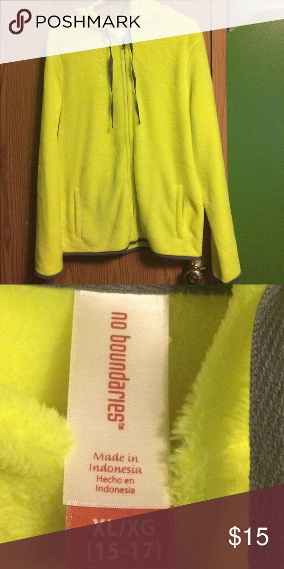 neon yellow fleece jacket Super cute neon yellow fleece jacket  in like new condition with hood No Boundaries Tops Sweatshirts & Hoodies