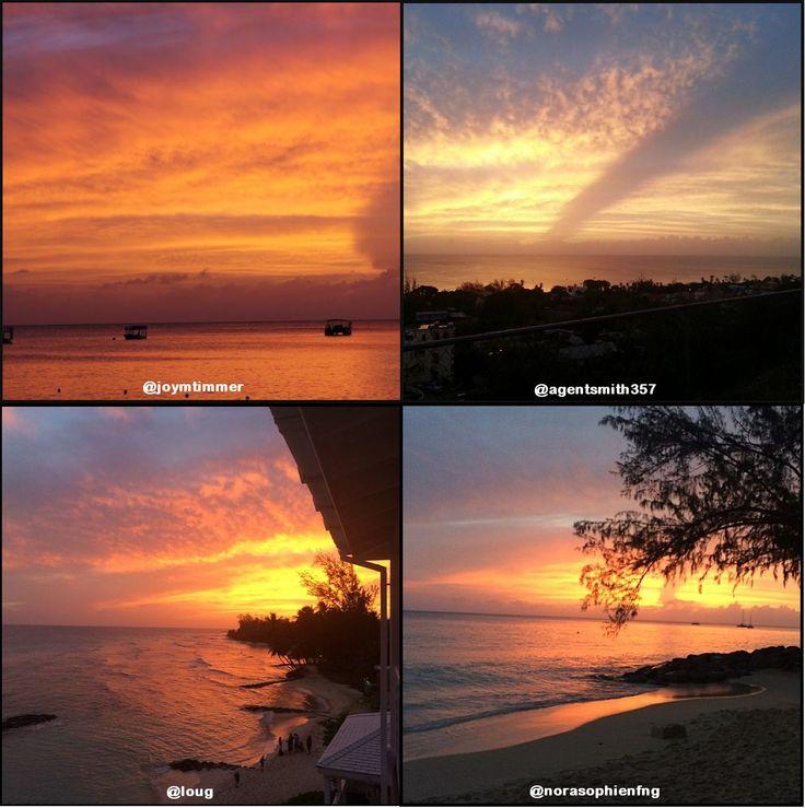 Imagine relaxing on the beach or boardwalk and enjoying these tropical #Barbados sunsets...
