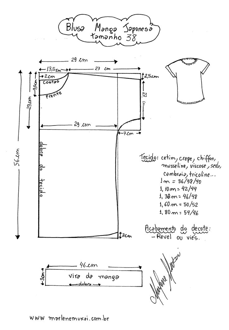 Molde de Blusa de Manga Japonesa tamanho 38. Girls ladies top blouse sewing pattern tutorial