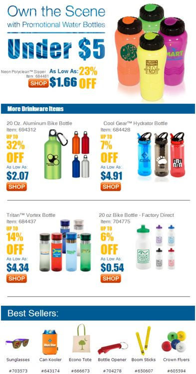 Take Over the Scene with Promotional Water Bottles Under $5 by AnyPromo - Maximize brand presence at outdoor venues, beaches, gyms, concerts, music festivals and many, many more places. Take advantage of the heat, and boost your brand with promotional water bottles by AnyPromo. #business #marketing #advertising #promotionalproducts #promotionalitems Affiliate CJ4256825