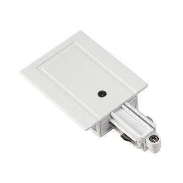 Einspeiser für 1-Phasen HV-Stromschiene, Einbauversion, Schutzleiter links, weiss / LED24-LED Shop