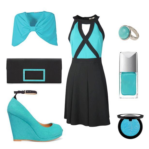 Eccovi un #look nei toni del #turchese brillante e del #nero..la linea di questo #abito valorizzerà le vostre forme e non vi farà passare di certo inosservate!