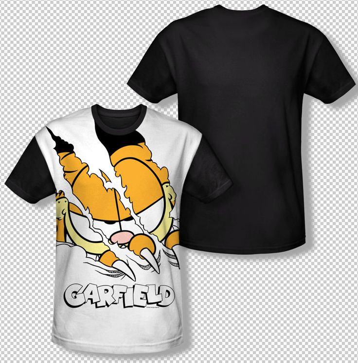 New Garfield Tearing Through Title Logo All Over Front Sublimation T-shirt Top Mens Sizes: S, M, L, XL, 2XL, 3XL