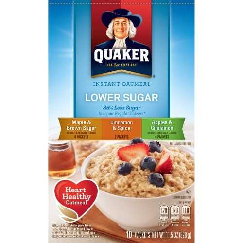 Quaker Instant Oatmeal Lower Sugar, Flavor Variety Pack, 10 Ct