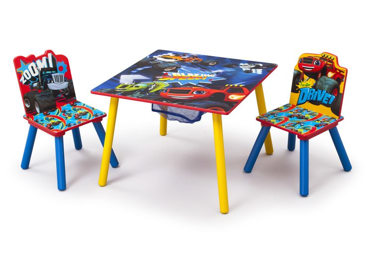 Features: -Nick Jr collection. -Set includes 1 study table and 2 chairs. -Chair holds up to 50 lbs. -Recommended for ages 3 to 6 years. -Material: Engineered wood and solid wood. -Toy keep in th