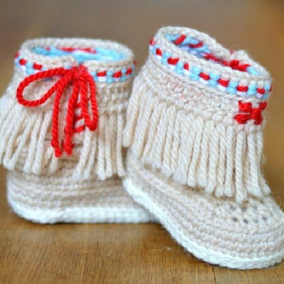 "Crocheted Baby ""Moccasins "" Booties Crochet Pattern for native American inspired booties with fringe and side ties inspired by Navajo design. These little cuties are right on trend,unique and individual - you won't see anything like these anywhere else!  Available in 3 sizes *CHECK OUT MY CLOSET FOR MORE SIZES **  **This Listing size- 3-6  months  4.0? **        **Color description **  Lace/white soles  Baby blue/Cherry red accent colors  *CHECK OUT MY CLOSET FOR OTHER COLORS AND SIZES FOR…"