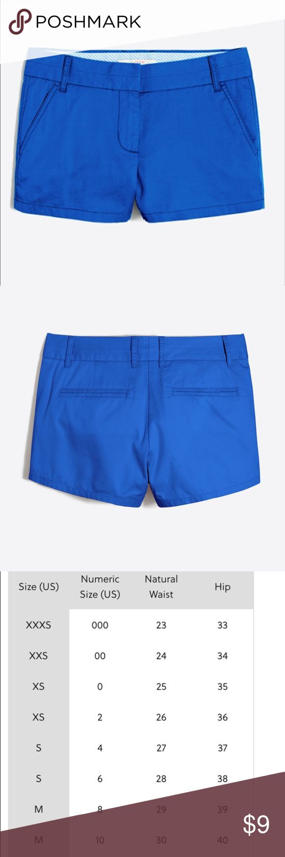 J CREW royal blue broken in shorts Royal Blue color. These are the chinos from the J. Crew store.  They look the first picture and the second picture there is one button on the right pocket, check out the pictures for the condition J. Crew Shorts Bermudas