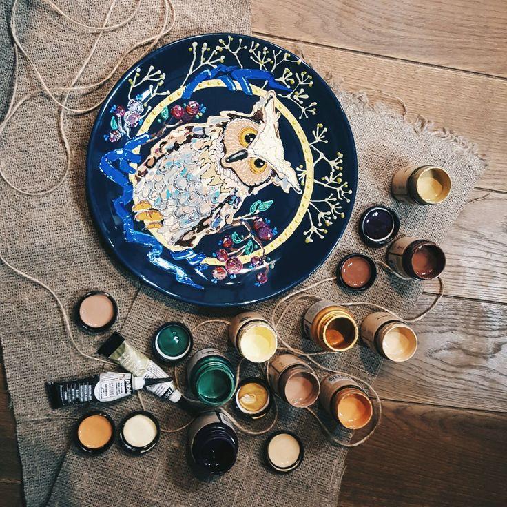 """Декоративная тарелка """"Мудрый филин """" – купить или заказать в интернет-магазине на Ярмарке Мастеров   Декоративная настенная тарелка с изображением…"""