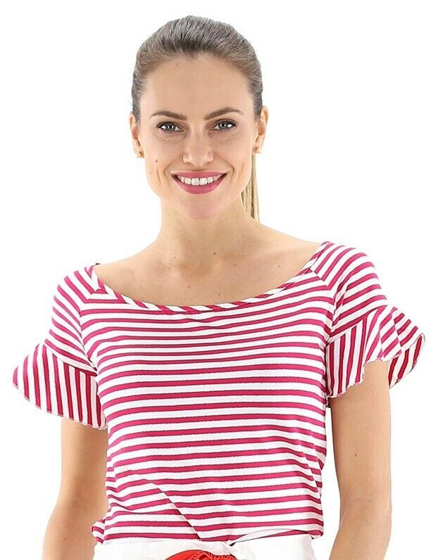 aff3b6eafda KOCCA Jersey Women's T-shirt striped with lurex Fuchsia/Cream Spring Summer  2019 #fashion #women #trends #moda #tops #clothing #woman