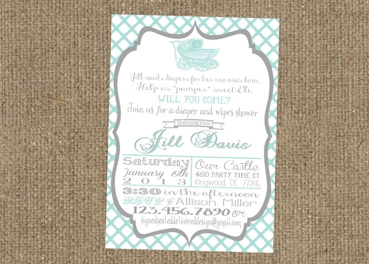 Diapers And Wipes Shower Invitation | 5x7 Diapers And Wipes Baby Shower  Invitation By SSDdesign On