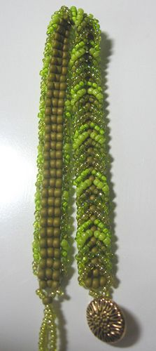 LadderBrace Pattern from B magazine, 8º and 11º seed beads with button closure