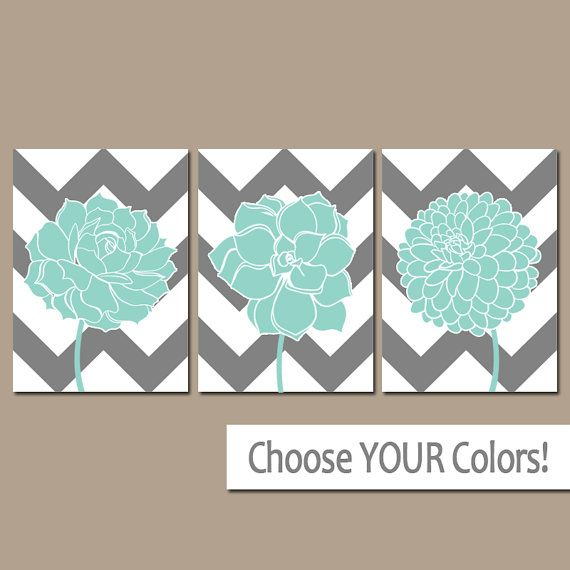 chevron flower wall art canvas or prints gray aqua by trmdesign navy