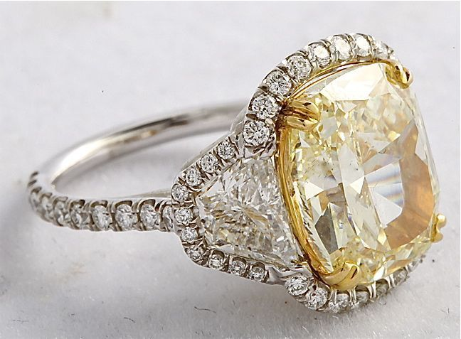 7.04 tcw Fancy Light Yellow cushion-cut Diamond Ring